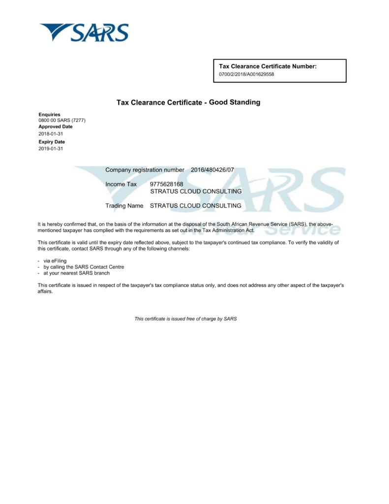 Tax Clearance Certificate 2018-01-31